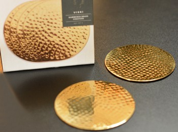BRASS COASTER SET